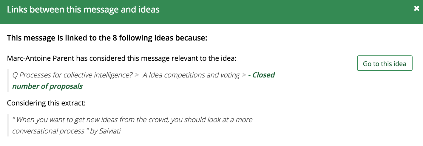 Showing which ideas a message is related to, and why